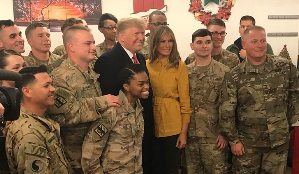 Trump with troops during a surprise visit to Iraq
